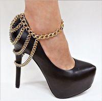 Moda pé cadeia ouro Chunky cadeia tornozeleira celebridade inspirado ouro tornozelo cadeia alta do salto do sapato cadeia Shoe jóias