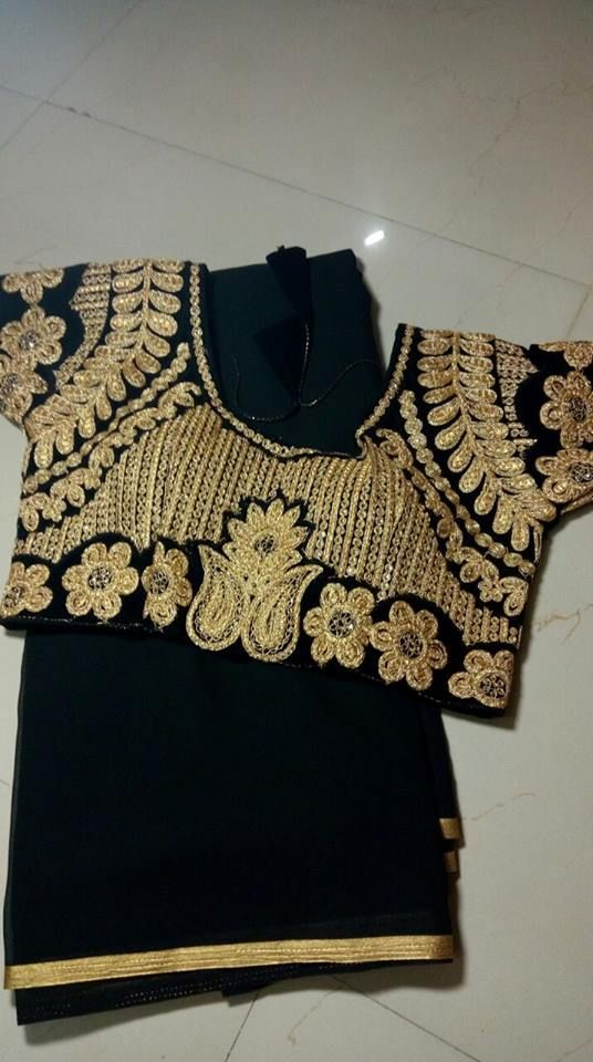 Here is the latest and fancy plain georgette saree with thread work designer stitched blouse.In...