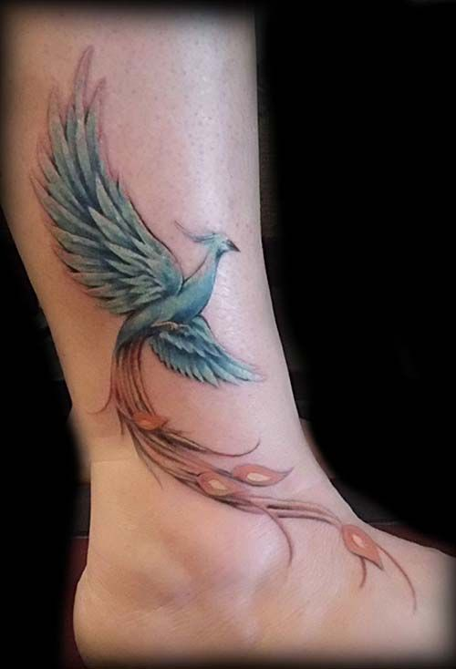 ankle colorful phoenix tattoo ayak bileği renkli anka kuşu dövmesi