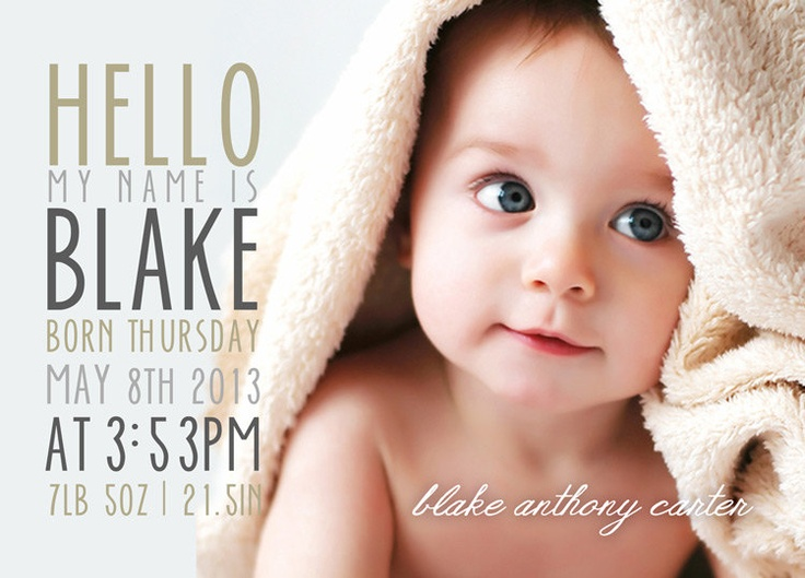 Birth Announcement Set of 3 - Boy Girl Photo Baby Announcement Bundle - 5x7 Birth Baby Announcement Cards Printable PSD Photoshop Templates. $18.00, via Etsy.