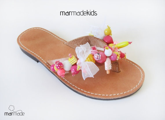 Leather handmade flip flop with Pink and Yellow beads by MyMarmade, €36.00