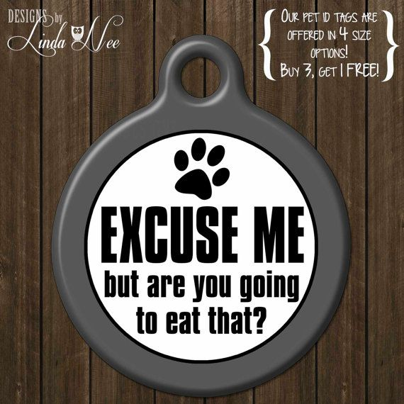 Funny Pet ID Tag ~ Excuse me but are you going to eat that? ~ Funny Dog ID Tag, Custom Pet Tags, Unique Tag, Identification Tag DTSA0017