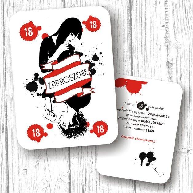 Zaproszenia z okazji 18-nastych urodzin, z autorską ilustracją. Do zaproszeń dołączona jest biała koperta. Cena jednego zaproszenia to: 5,00 zł. (karteczka/koperta/personalizacja). Możliwe jest...