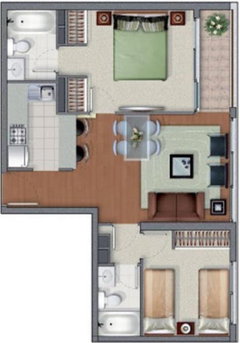 Plano de casa pequeña con dos habitaciones y dos baños