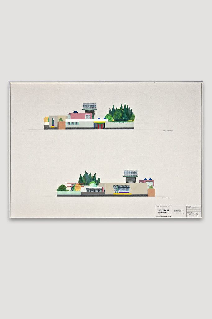 Snaporazz Restaurant (set of nine drawings) by Sottsass Associati, hand colored by Matteo Thun sold by the modern archive
