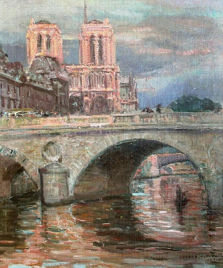 Pont St Michel ,Paris - Joseph Kleitsch 1927 Hungarian 1882-1931