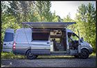 Outside Van With Extended Awning Near Columbia River