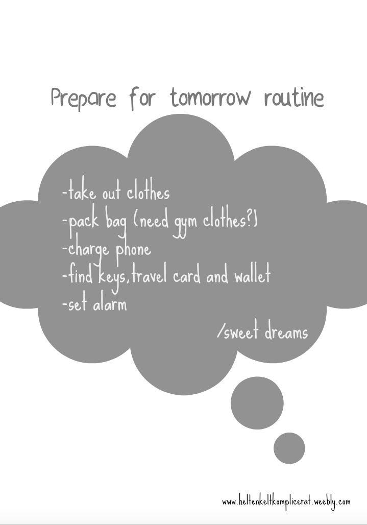 night routine prepare for tomorrow helt enkelt komplicerat