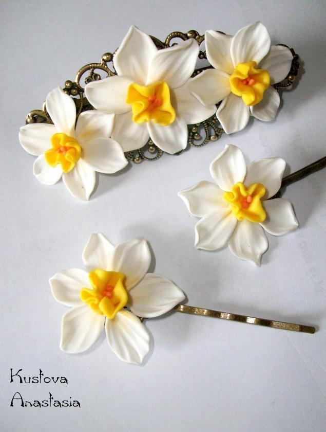 Нарциссы из запекаемой глины - Ярмарка Мастеров - ручная работа, photo tutorial to make these