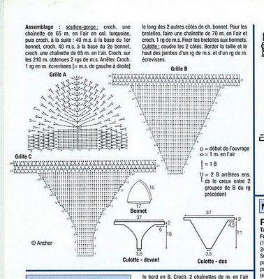 Crochê Tricô: Gráficos - Biquini