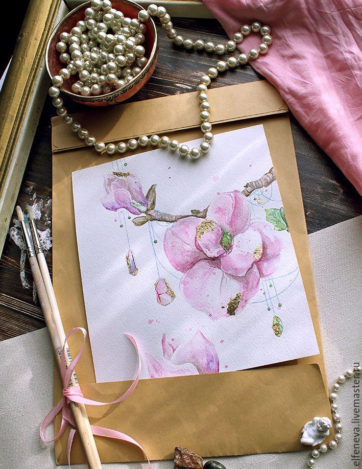 """Купить Акварель """"Магнолия"""" - бледно-розовый, акварель, акварельная картина, акварельная живопись, акварельный рисунок"""