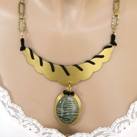 Gold Necklace for Women Gemstone Necklace Green Statement