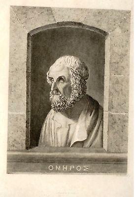 Copper Engraving -c1825- HOMER by David C. Johnston - Antique Print