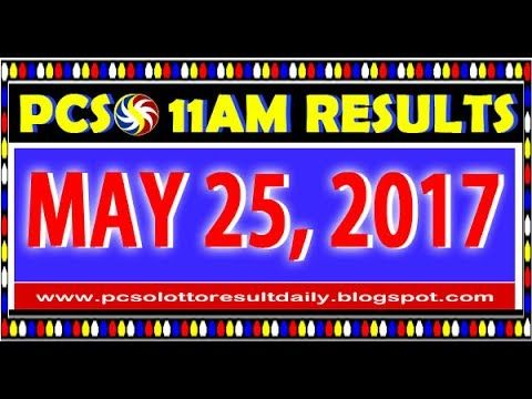 PCSO MidDay - 11AM Results May 25, 2017 (SWERTRES & EZ2)