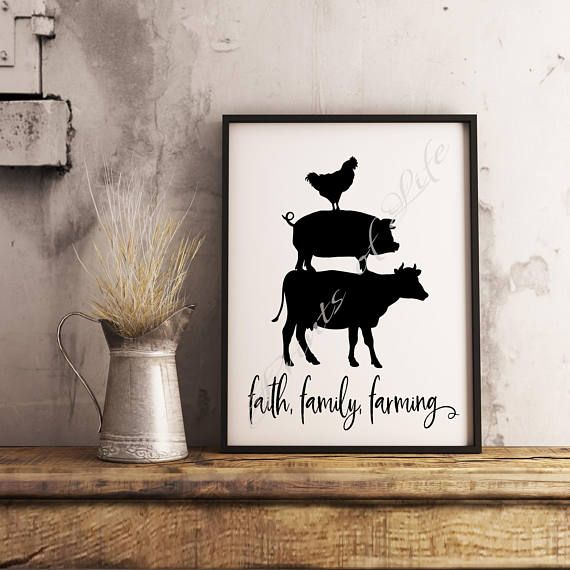 Farm print. Faith family farming. Cow pig chicken. Instant