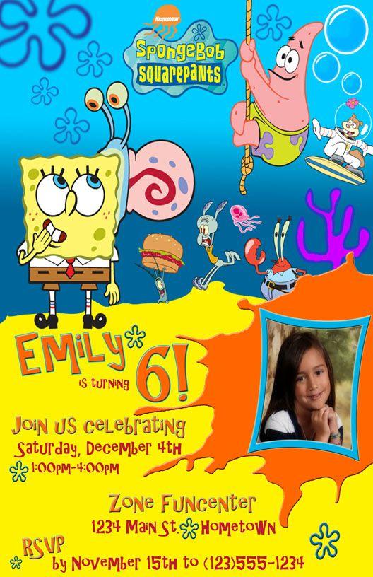 the 25+ best sponge bob birthday ideas on pinterest | sponge bob, Party invitations