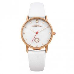 Johnny Loves Rosie White Strap Gold Spot Dial Watch