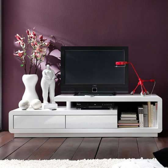 Celia High Gloss Plasma Tv Unit In White With Two Drawers
