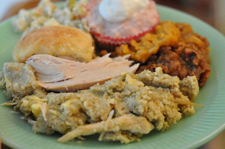 Turkey and dressing in the crock pot.  I may not get away with this on the big day, but I plan to try this at some point soon, we love this meal and will ET it anytime.  I think I would buy a rotisserie chicken to use for the meat and do it anytime!: