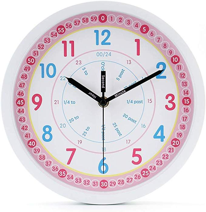 Jomparis Kids Wall Clock Learning Time Wall Clock Educational Teaching Clock 10 Inch Silent Non Ticking Quality Quart Kids Wall Clock Teaching Clock Wall Clock