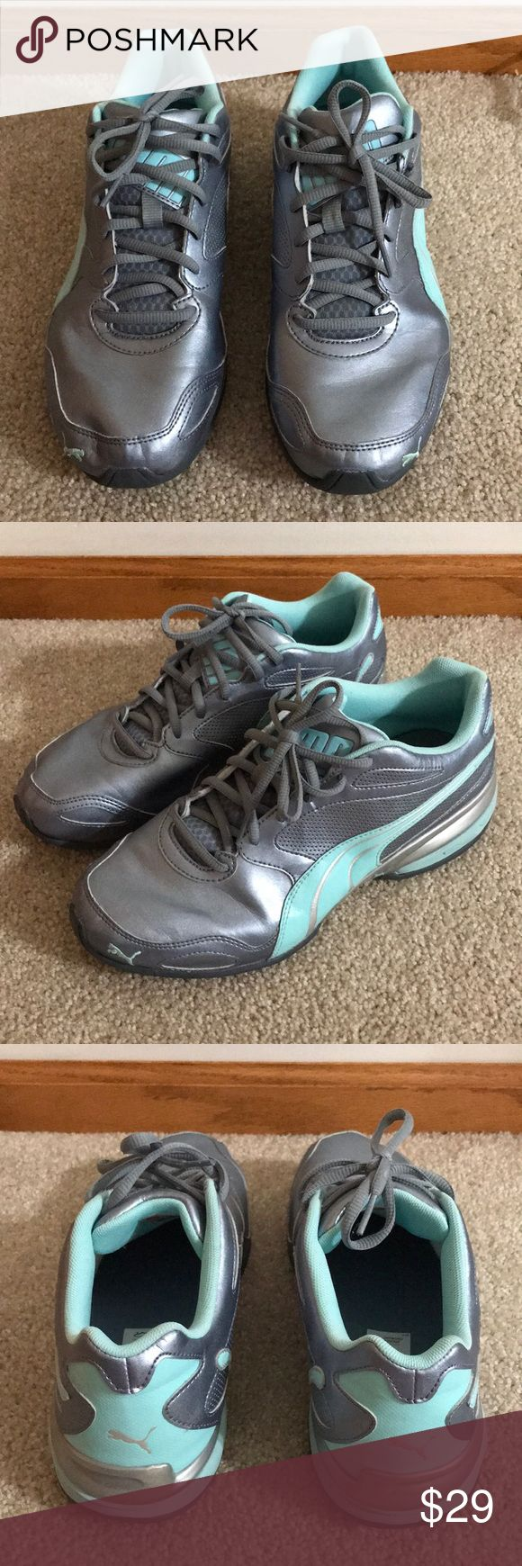 Women's Puma Running Shoes Silver/Aqua 10 Used Women's Puma Aqua and Silver Running Shoes Size 10.  Great condition, wore a few times and are too small for my post pregnancy feet. Puma Shoes Athletic Shoes
