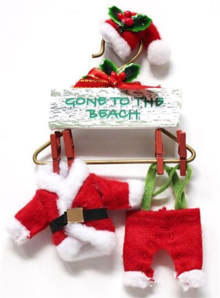 Santa Suit on a Hanger - Gone to the Beach Sign - Tropical Christmas Ornament | Collectibles, Decorative Collectibles, Ornaments | eBay!