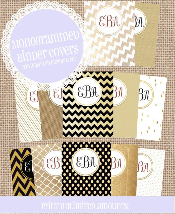 12 MONOGRAM Background and Binder INSERTS/ Covers with Spines and matching back! Custom binder covers! by ThreeLittleStones on Etsy https://www.etsy.com/listing/224247320/12-monogram-background-and-binder