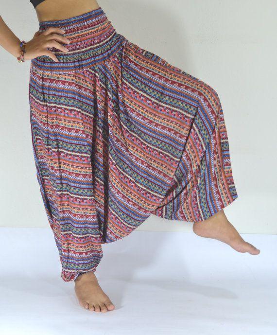 Thai handmade/Red and orange Green stripes Harem Pants/Yoga Boho Pants/Paint design/Drawstring elastic waist/Comfortable/Boho Pant/Trousers....