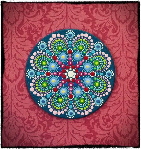 Elspeth McLean - Mini Original Round Painting- Jewel Drop Mandala- Harmonious and Happy. $30.00, via Etsy.