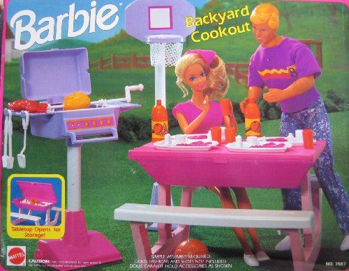 Barbie BACKYARD COOKOUT Playset - Back Yard Cook Out w Picnic Table, Basketball Set, Barbecue & MORE! (1992 Arcotoys, Mattel) Barbie,http://www.amazon.com/dp/B002LNGFGM/ref=cm_sw_r_pi_dp_SUeptb1VMJ7FKA48