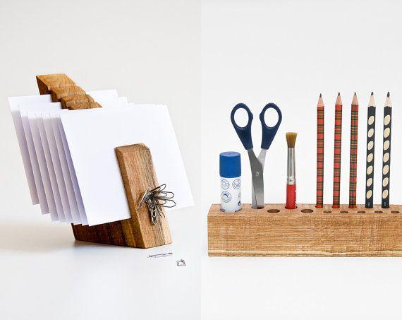 DESK ORGANIZER SET / Desk Accessories / Wood Office by lessandmore, $130.00
