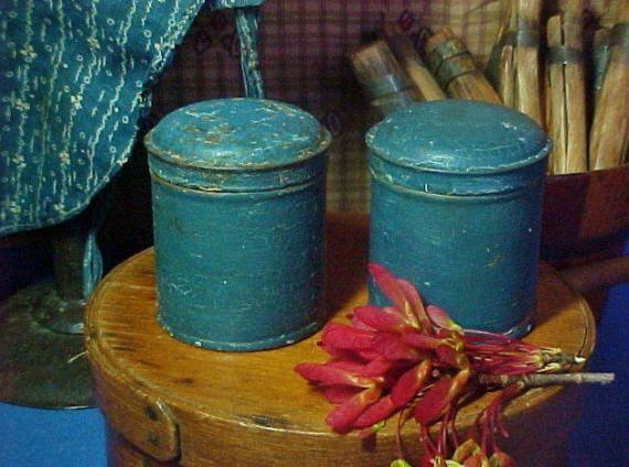 Antique Blue Painted Spice Tins, Canisters, Primitive Blue Paint