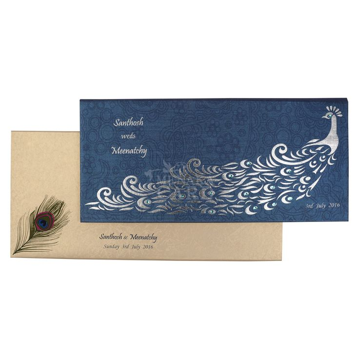how to address couples on wedding invitations%0A Royal blue metallic board  design blue and silver foil peacock with stone  pasting  cover