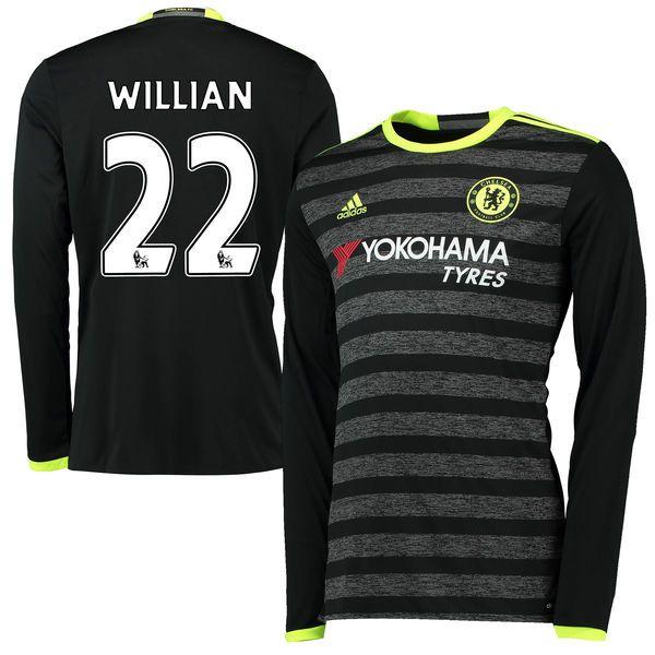 Willian Borges da Silva Chelsea adidas Youth 2016/17 Away Long Sleeve Jersey - Black - $107.99