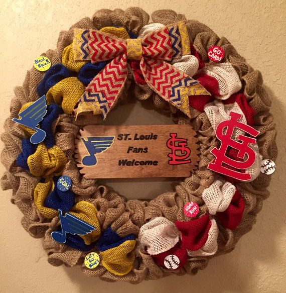 St louis cardinals and St louis blues wreath st by WandNDesigns