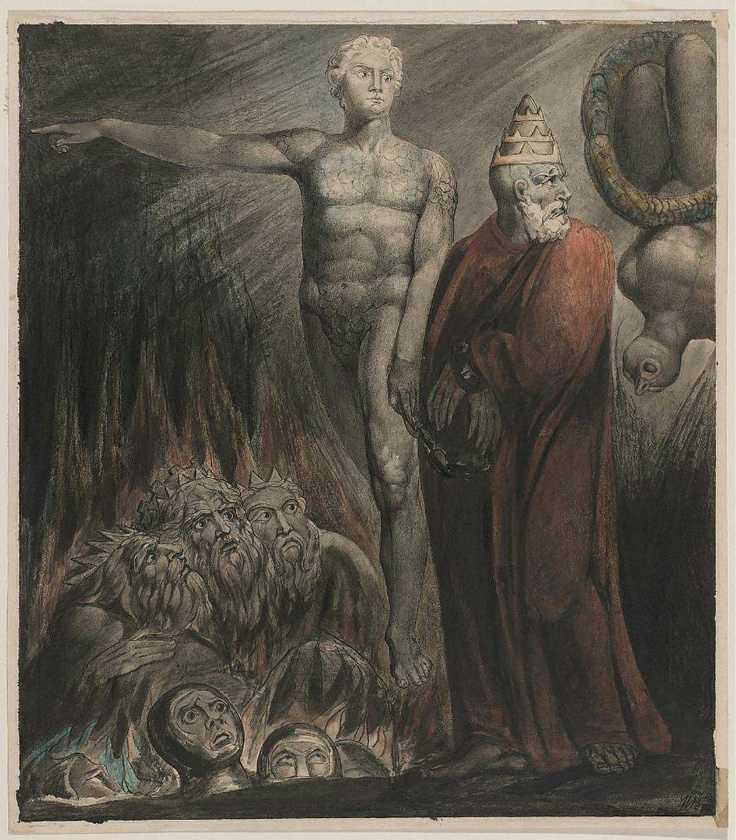 Lucifer and the Pope in Hell (The King of Babylon)    William Blake, about 1805