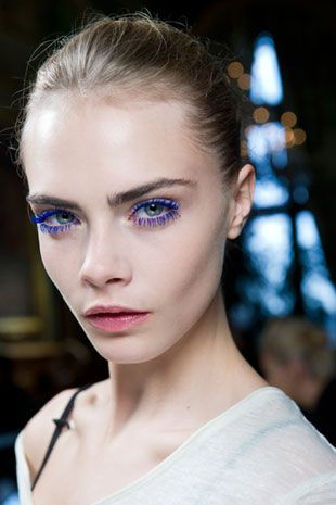 Cara Delivigne Blue Lashes at Stella McCartney Fall 2012. Makeup by Pat McGrath.