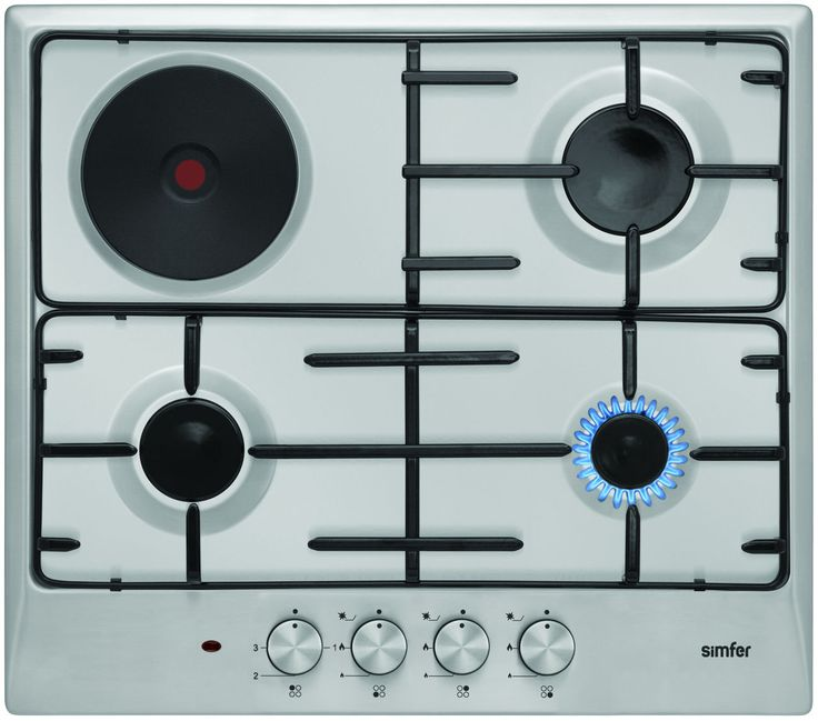 SIMFER KOMBINIRANA PLOŠČA 6310 VERIM. Priljubljena kombinirana plošča Simfer, ki jo odlikuje dober dizajn, dobra cena in všečni gumbi.  Kuhališče: 3 plinski gorilniki, 1 električna kuhalna plošča, 1 kuhališče Ø 14,5 cm (1000 W), elektronski vžig, inox ohišje, emajlirano podstavno rešeto, termostatsko varovalo gorilnikov,prirejeno za zemeljski plin in za plin v jeklenkah, inox gumbi, širina 60 cm.