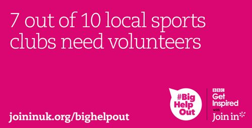 Volunteers make sport more enjoyable for everyone. Give something back to your community. Sign up for #BigHelpOut!