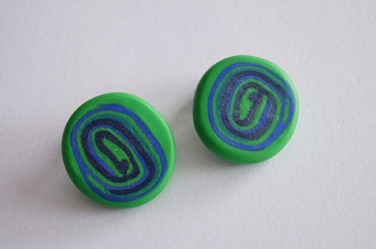 Ohrclips in blau und grün von Selbstgemachtes 2 Froilleins Werkstatt auf DaWanda.com
