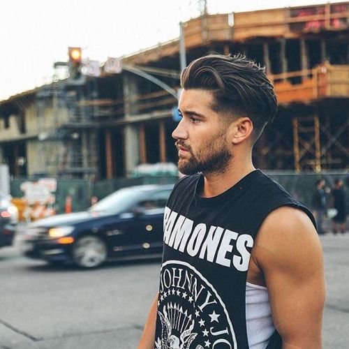 Pretty Boy Hairstyle - Low Fade with Long Swept Back Hair