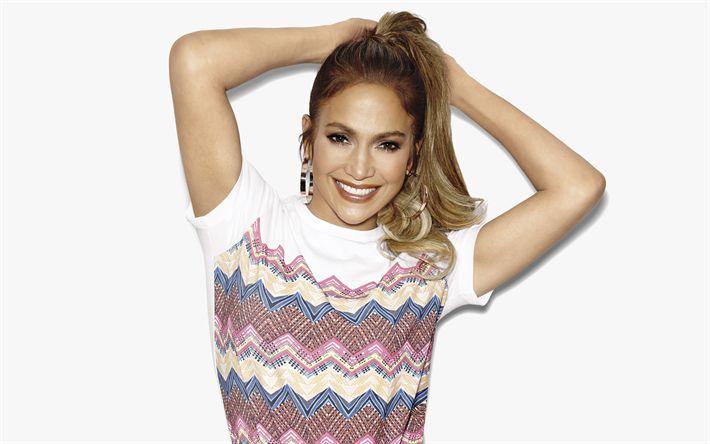 Download imagens Jennifer Lopez, Cantora norte-americana, 4k, retrato, sorriso, make-up