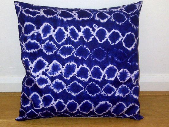 Blue White Circles African Tie Dye Pillow Cushion