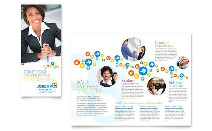 recruiting display boards for education career fairs   Job Expo & Career Fair Tri Fold Brochure Template Design