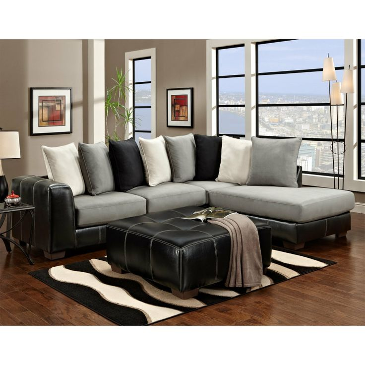 FurnitureMaxx Idol Steel Sectional Sofa With Black Ottoman : Sectional Sofas.  Affordable ... Part 92