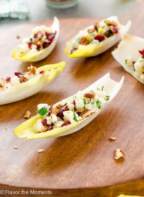 Endive Salad Bites with Pears, Blue Cheese, & Pecans | flavorthemoments.com: