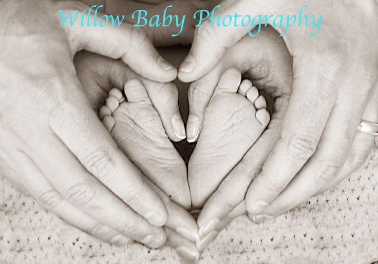 Newborn baby feet in a heart shape made from mommy and daddy's hands - photo-shoot from willow Baby Photography