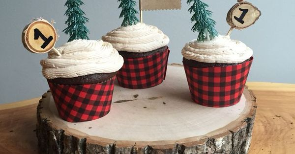 lumberjack party cupcakes | Christmas Baby | Pinterest | Cake stands, Cakes and Showers