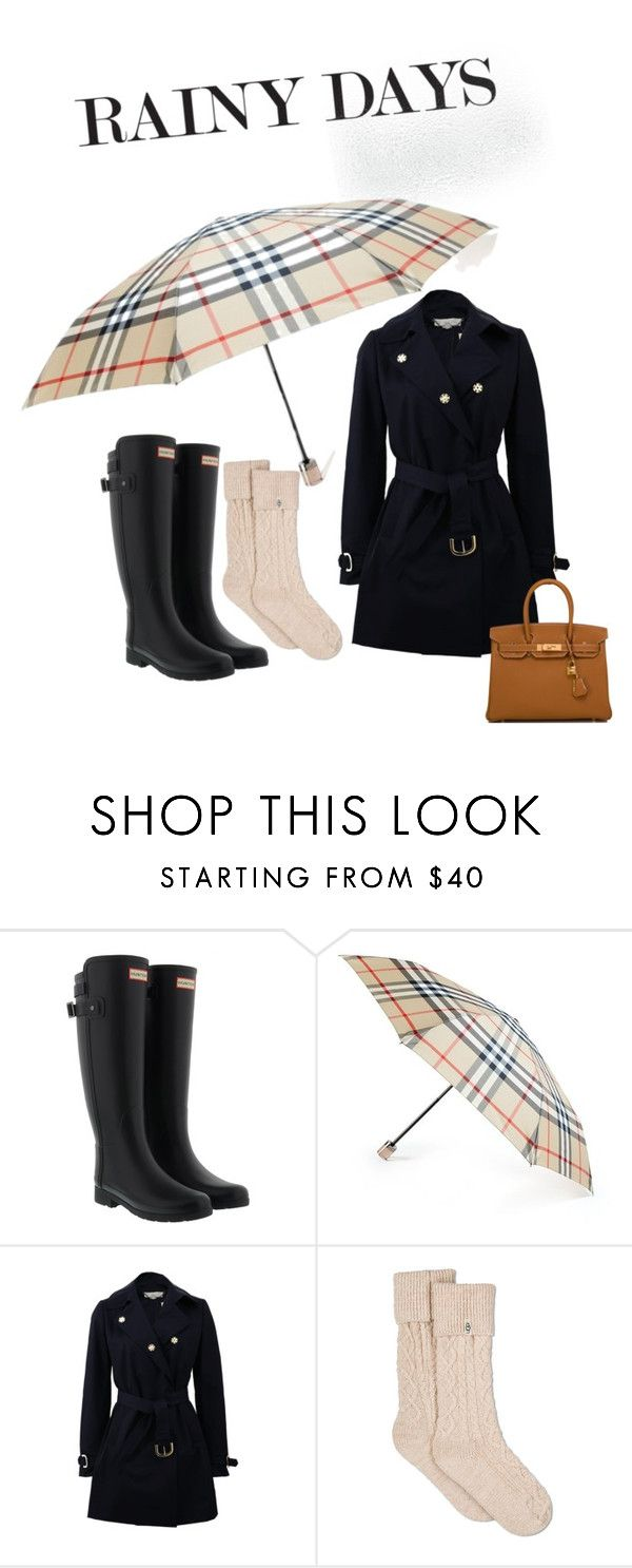 """""""Rainy days"""" by majahellstrom on Polyvore featuring Hunter, Burberry, STELLA McCARTNEY, UGG and Hermès"""