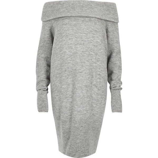 River Island Grey slouchy knitted bardot dress ($30) ❤ liked on Polyvore featuring dresses, grey, sale, women, slouchy dress, ribbed dress, rib dress, river island dresses and gray dress